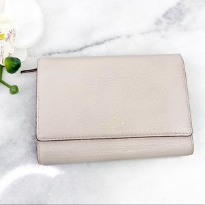 Kate Spade Tri-Fold Cream Leather Wallet Snap Zip